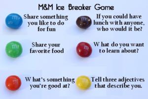 m&m ice breaker game ideas